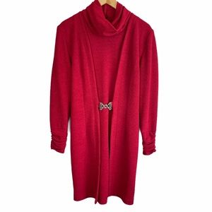 V Vintage Farouche Dress Red Ruched Long Sleeve 8